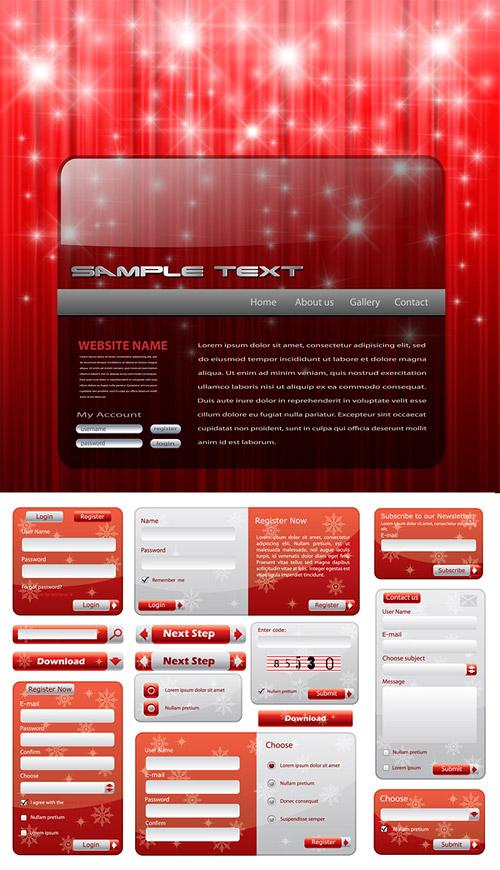 クリスマス スタイルの Web デザイン要素ベクトル材料