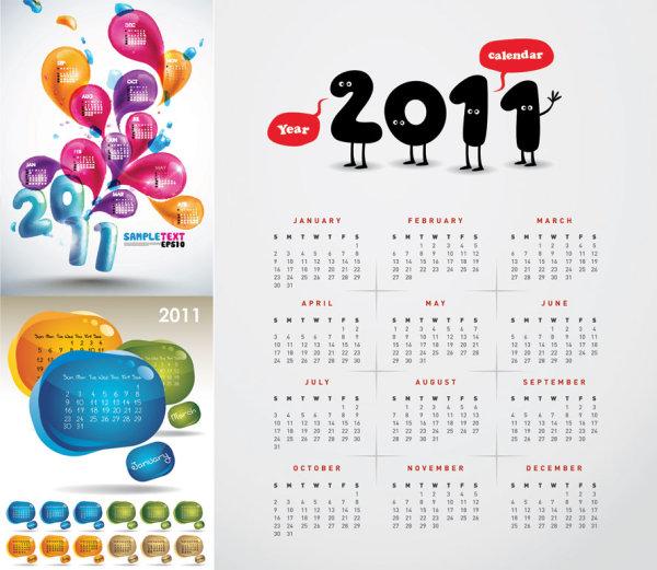 3 красивых 2011 календарь вектор