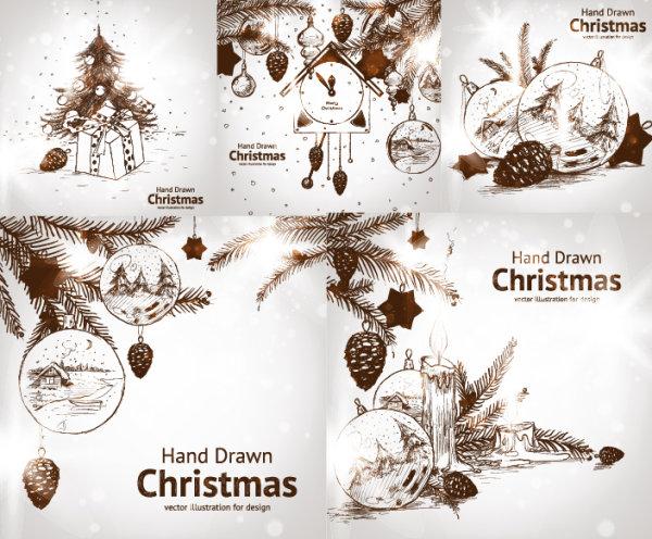 Ручная роспись рождественские украшения векторный стиль