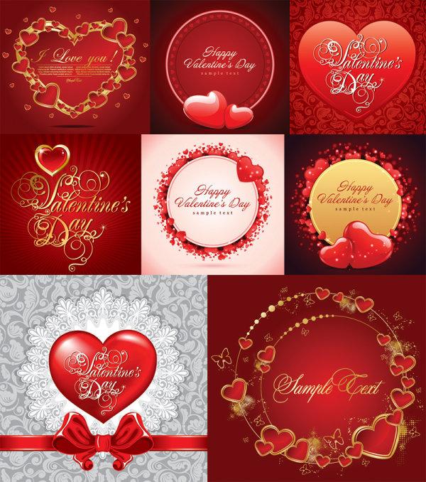 + + Cartões românticos de vetor material + +