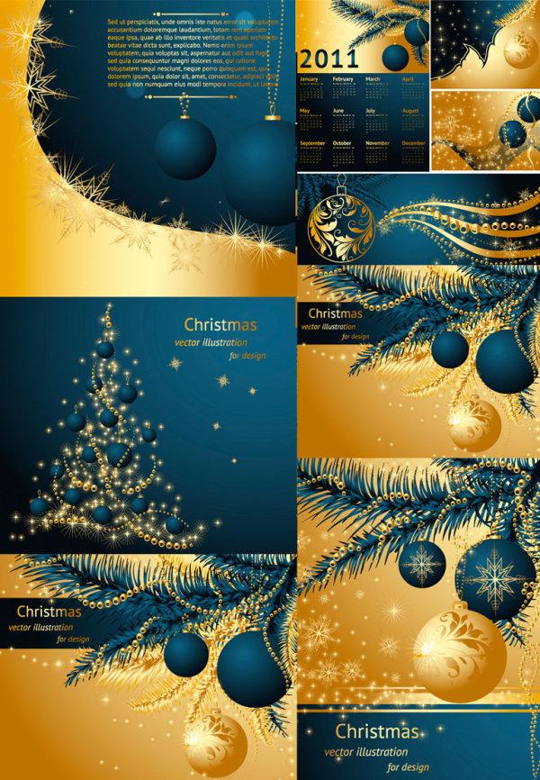 Золотой векторные рождественские 2011
