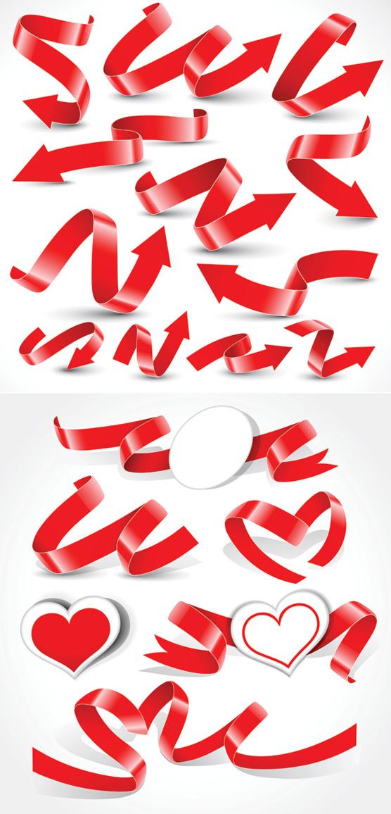 Разнообразные праздничные ленты векторного материала