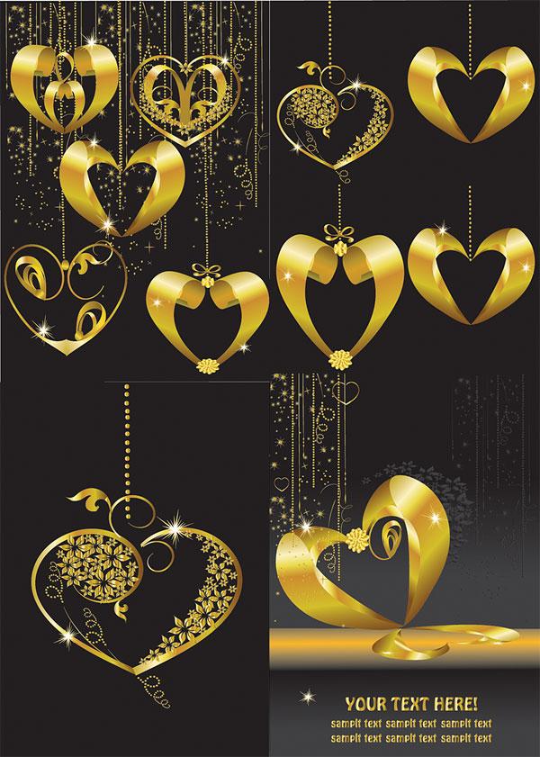 Золотая подвеска сердце образный вектор
