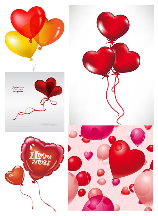 Románticos globos en forma de corazón de vectores