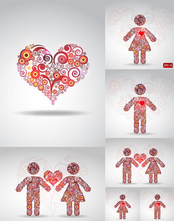 Patrón de círculo compuesto de material de vectores de amor