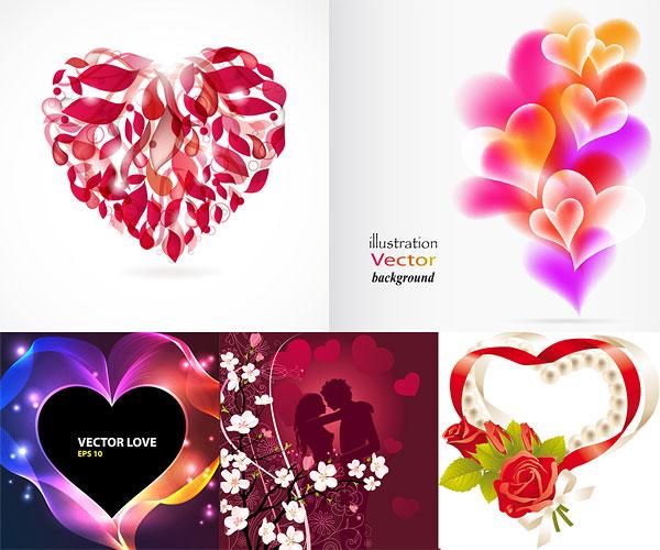Romantique en forme de cœur Vector Graphics