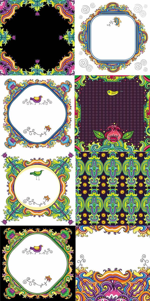 Patrones decorativos de color - Vector