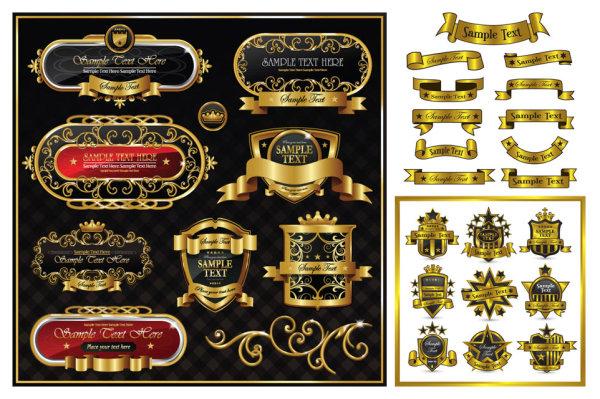 Matériau vecteur de ruban doré superbe étiquette patron