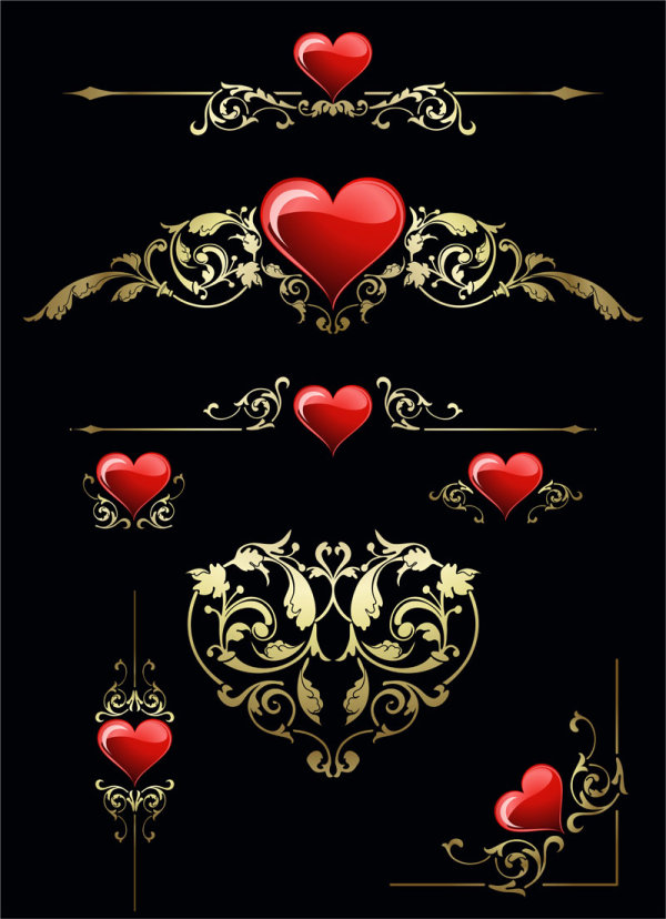 Heart and pattern Vector