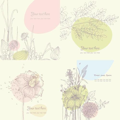 Векторного рисования линий цветочные