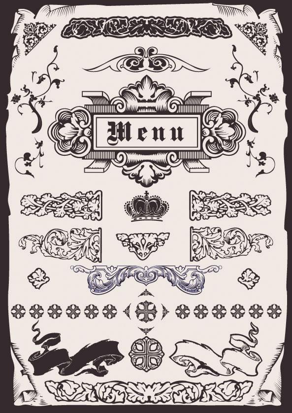 Matériau de vecteur pour le patron menu style européen
