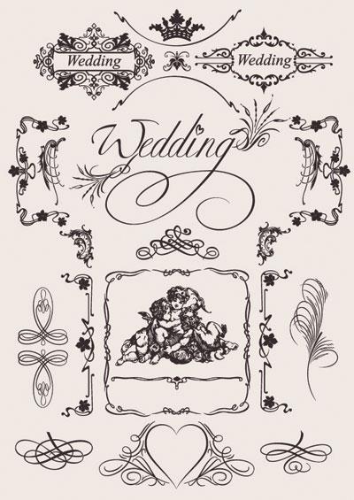 Material de vectores de patrón Europeo boda