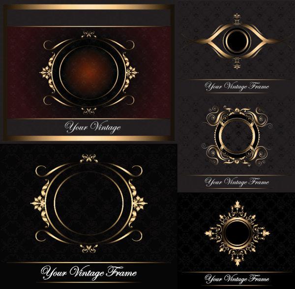 ヨーロッパの金枠パターン ベクトル材料