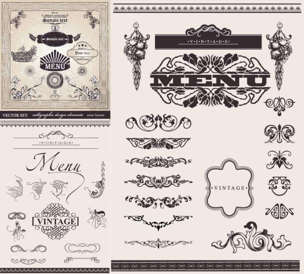 Matériau de vecteur pour le patron dentelle décoratif européen