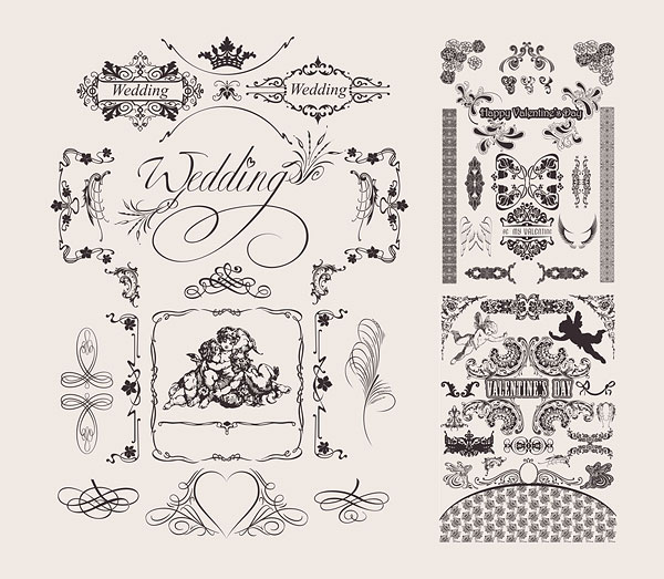 Wedding lace pattern vector material
