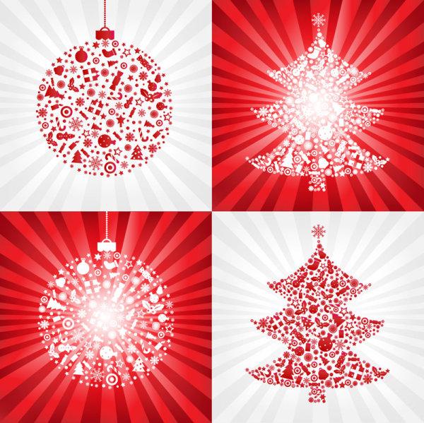 Красный Рождественский бал с елки - векторный материал
