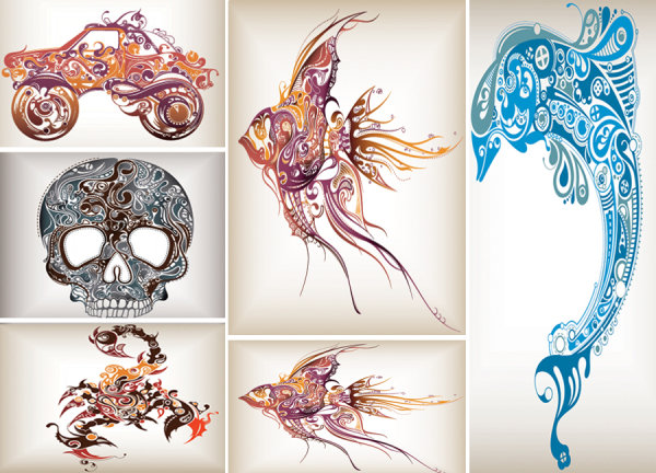 Trend pattern dolphins in the tropical fish -Off-road vehicles- Scorpions- Skeleton Vector