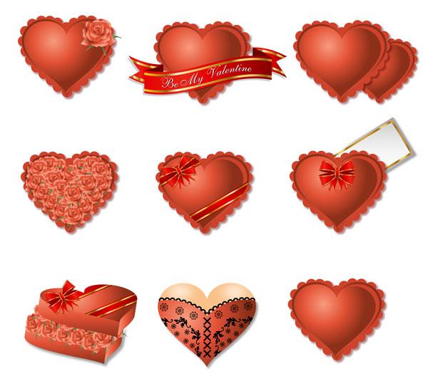 로맨틱 심장-모양의 선물 상자 포장 벡터 재료