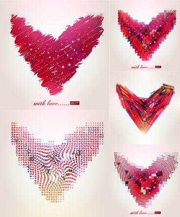 Material de vetor abstrato padrão em forma de coração