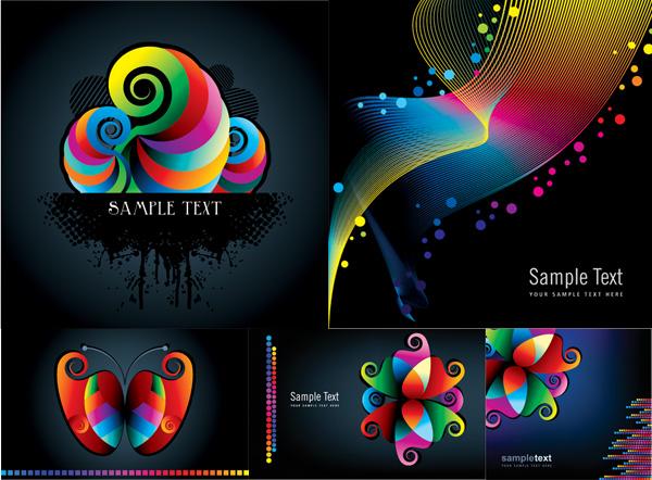 ลวดลายสีสันและบรรทัด vector วัสดุ