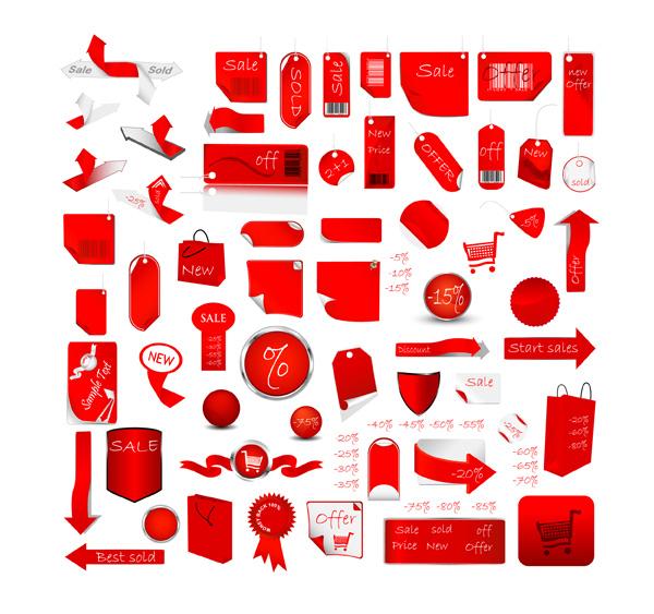 Vector de etiqueta roja