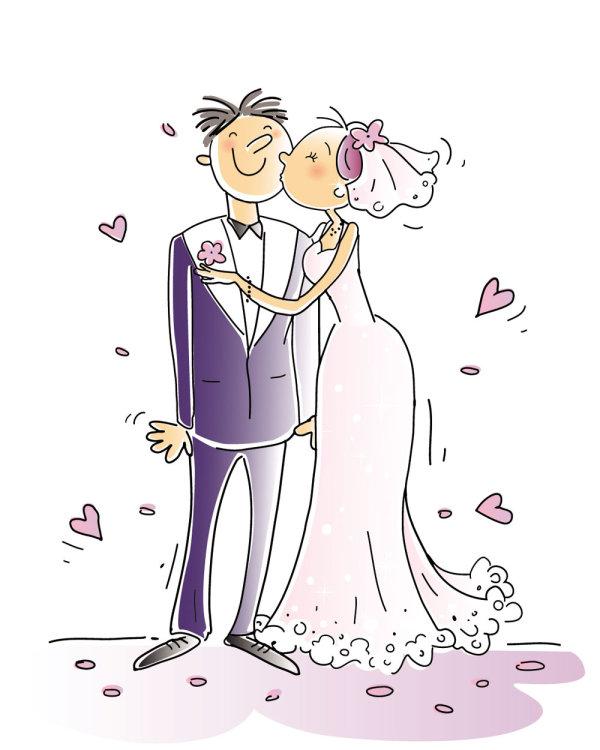Éléments de mariage Cartoon-style 01 - vecteur
