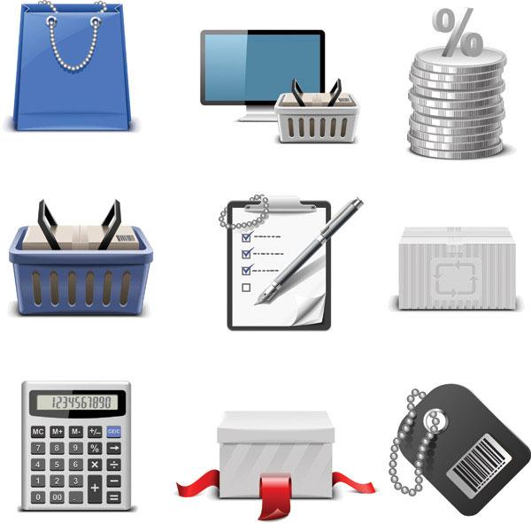 Achats de matériel de vecteur thème icône
