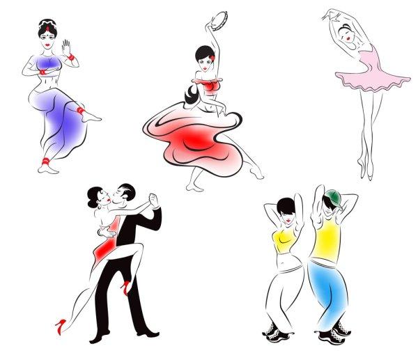 Gens dansant silhouette 02--vectorielles matériel