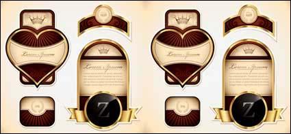 Las etiquetas de vino botella oro bordeado de vectores