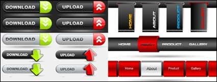 Веб-дизайн кнопку навигационной панели векторного материала