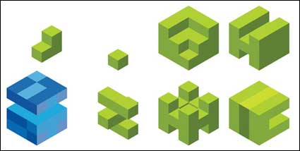 Вектор графического материала куб логотип