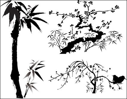 Matériel végétal d'encre de Chine vent vecteur