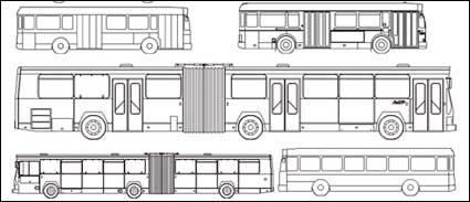 Tipos de barramento de carro de linha de desenho vectorial material