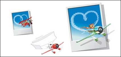 Urso de pelúcia aeronaves vector material