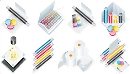 CMYK tema icono material de vectores