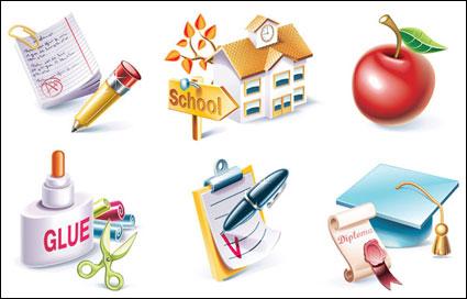 Escuela tema icono material de vectores