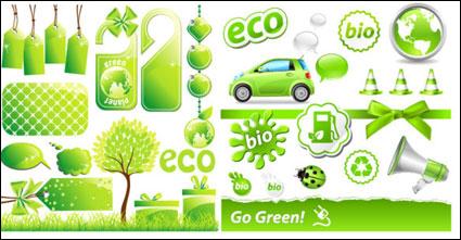 Tema verde de baja emisión de carbono icono material de vectores