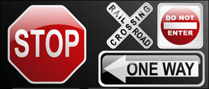 Cristal tráfico signo icono material de vectores