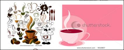 Café icono y fondo material de vectores