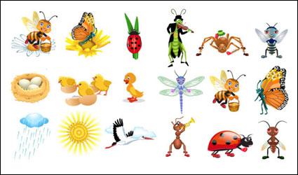 Lindos insectos vectores de dibujos animados