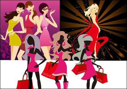 3 tipos de vectores de mujer de moda de material