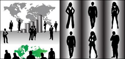 Gente de negocios silueta vector de material