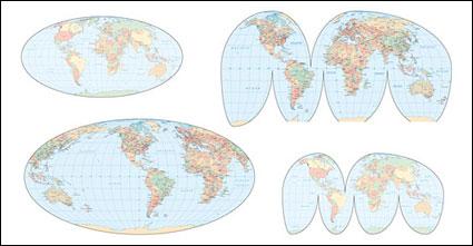 แผนที่โลกเวกเตอร์ของต่าง ๆ
