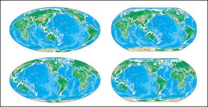 다양 한 버전 벡터 세계지도의 색상