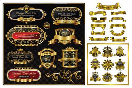 Material de vectores de patrón de etiqueta magnífica cinta dorada