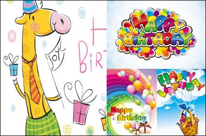 Cartoon happy birthday vector material