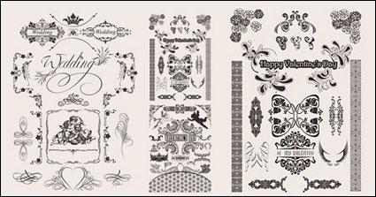Material de vectores de patrón de encaje de boda