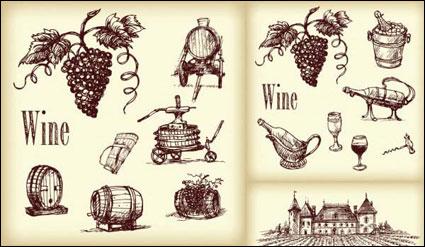 เวกเตอร์รูปวาดเส้นไวน์
