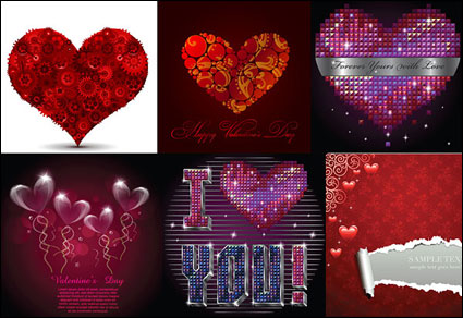 여러 낭만적인 사랑 패턴 벡터 자료