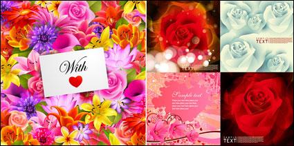 Flores tarjeta fondo vectorial